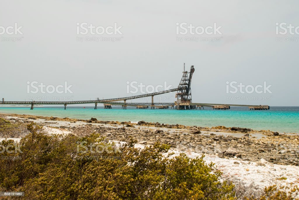 Salt pier on Bonaire stock photo
