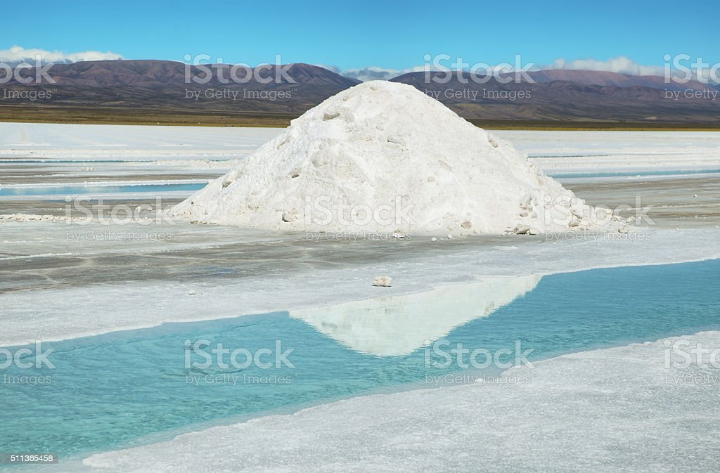 Salt piles and water pool on Salinas Grandes stock photo