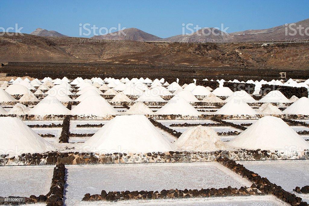 Salt piles on a saline exploration stock photo