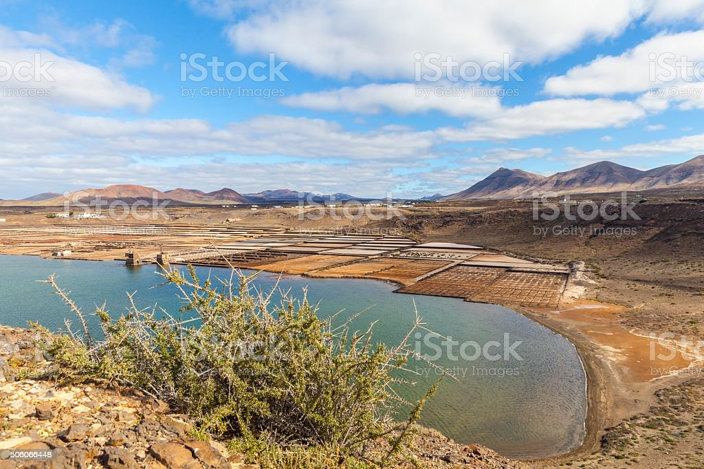 Salt production district at the west coast of Lanzarote stock photo
