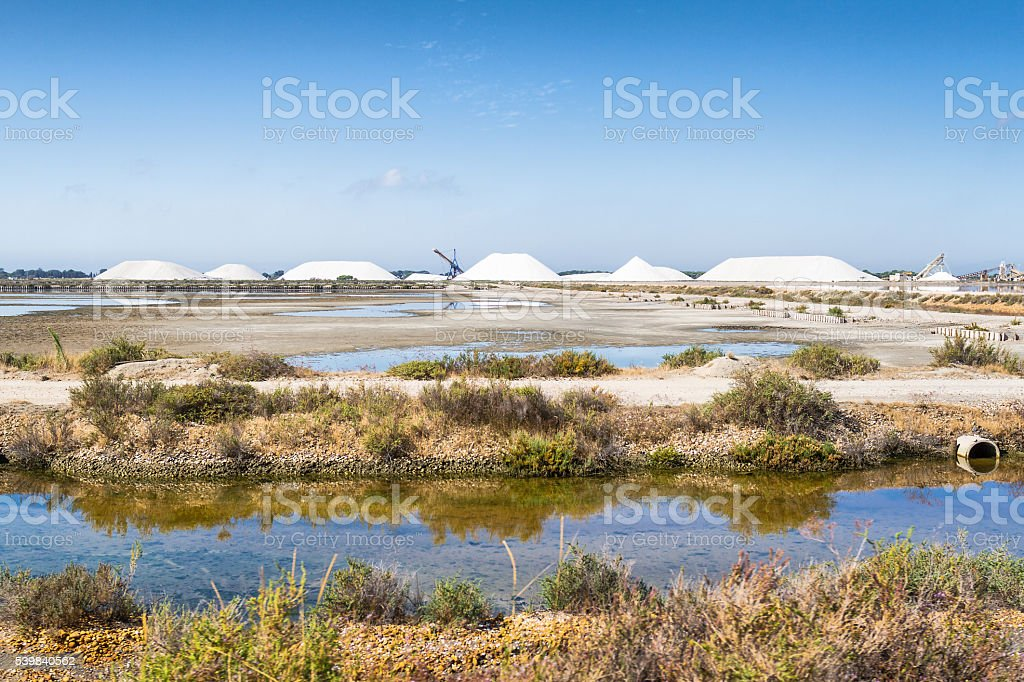 Salt production in a salt flats - Aigues-Mortes - France stock photo