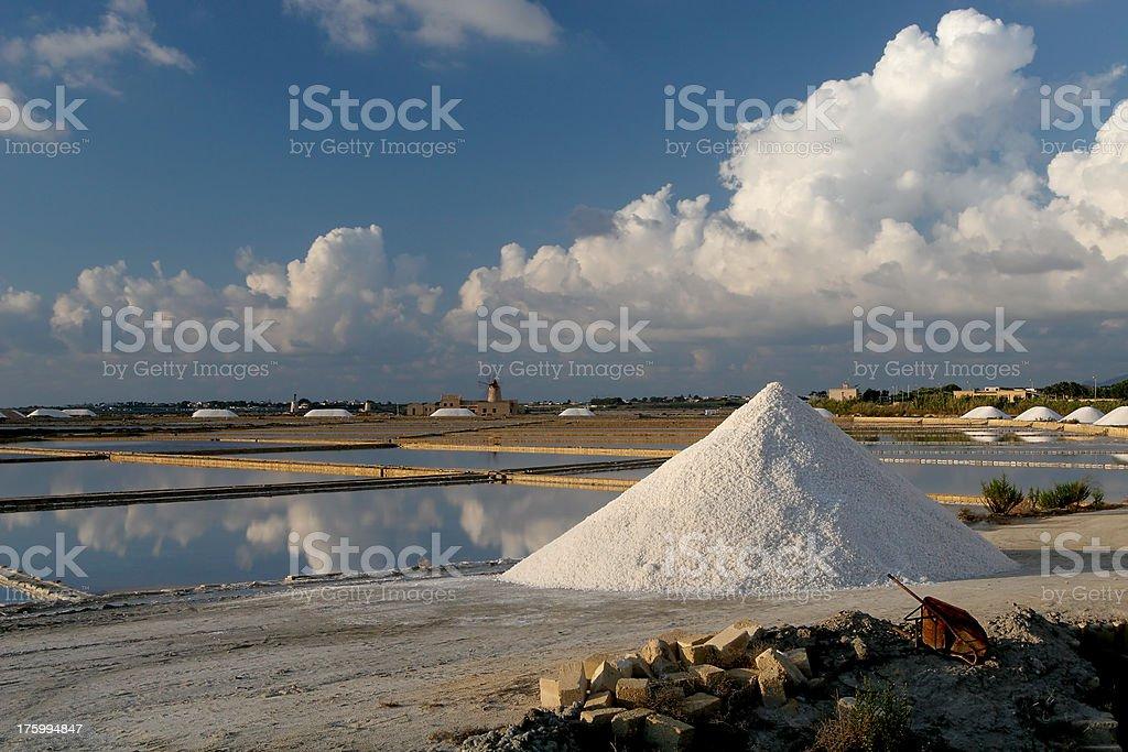 Salt Production in Sicily stock photo