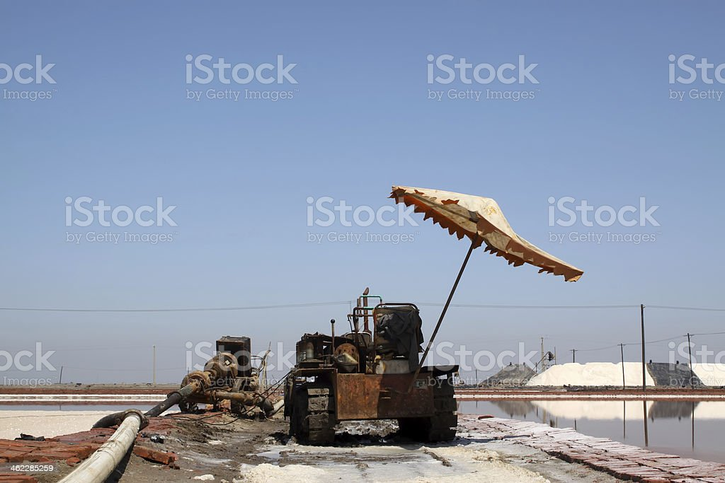 salt production machinery royalty-free stock photo