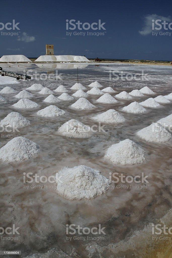 Salt Production near Trapani in Sicily stock photo