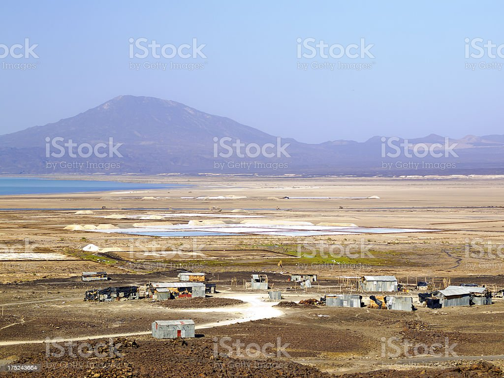 Salt production stock photo