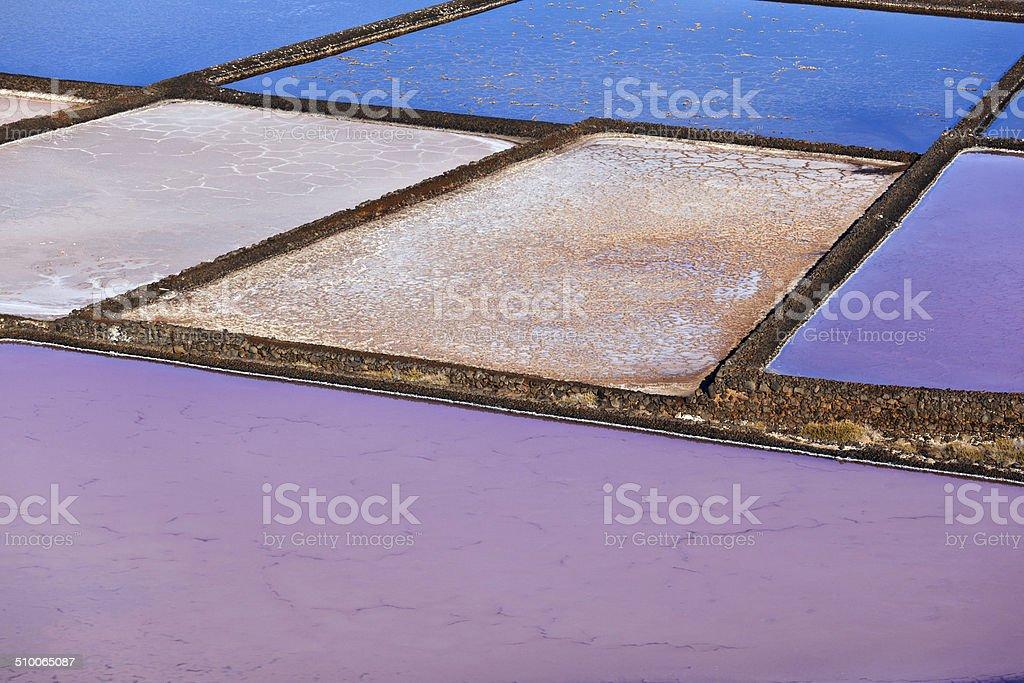 Salt refinery, Saline from Janubio, Lanzarote stock photo
