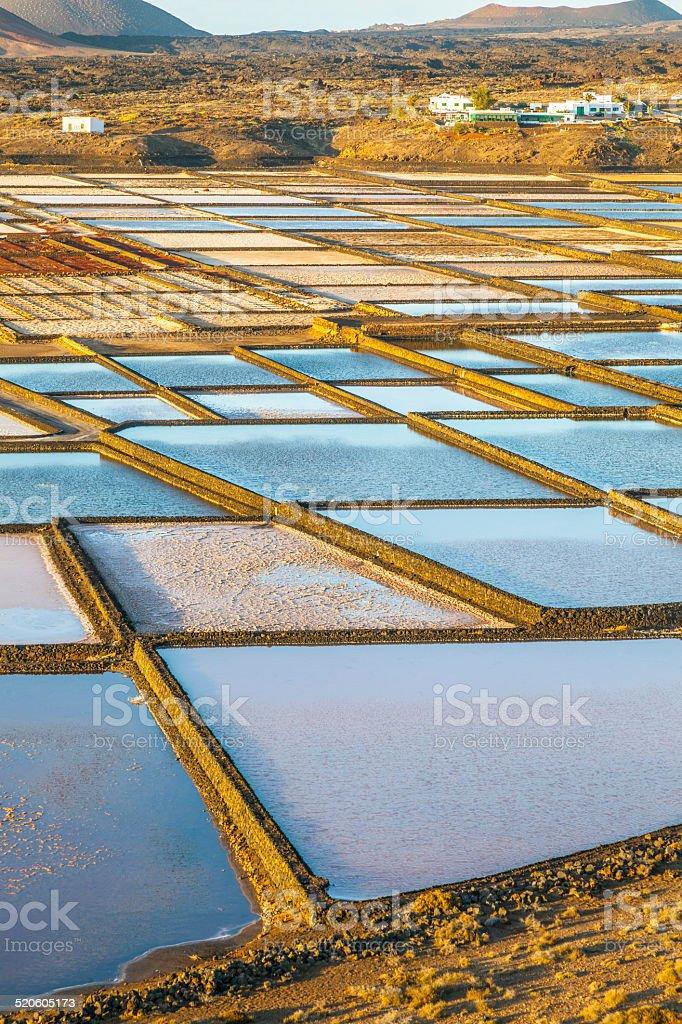Salt refinery, Saline from Janubio, Lanzarote, Spain stock photo