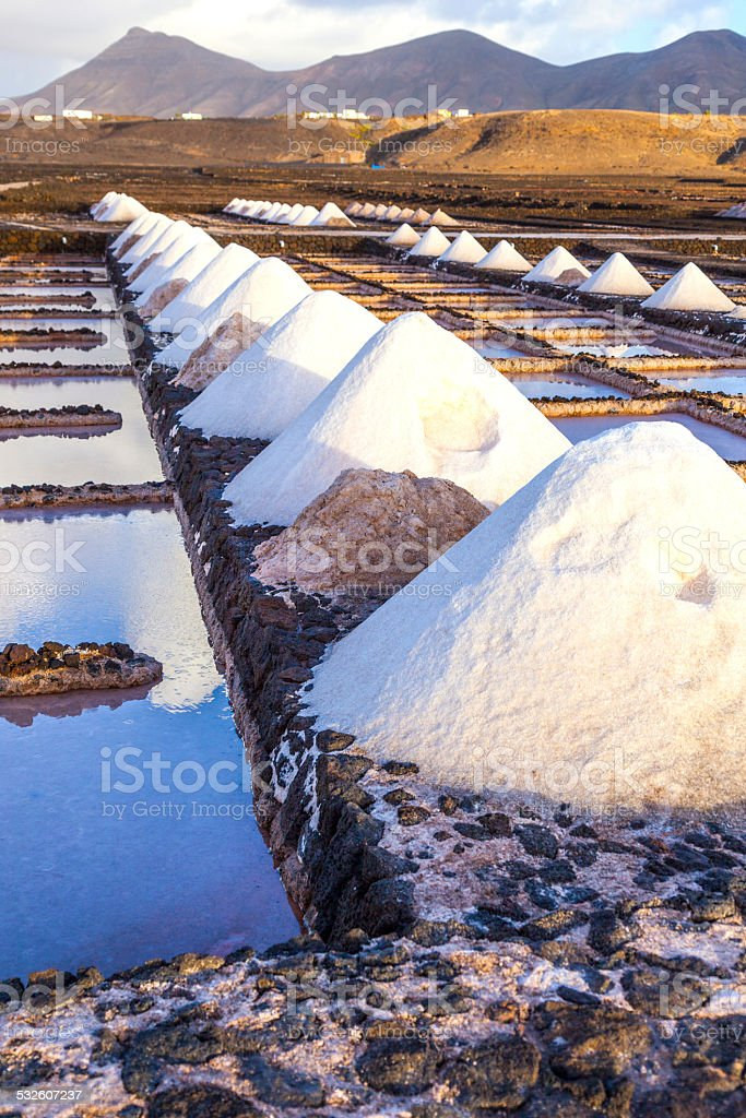 Salt refinery, Saline from Janubio, Lanzarote, Spain stock photo