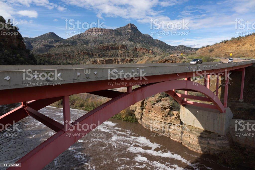 Salt River Canyon Bridge highway vehicles White Mountains Arizona stock photo
