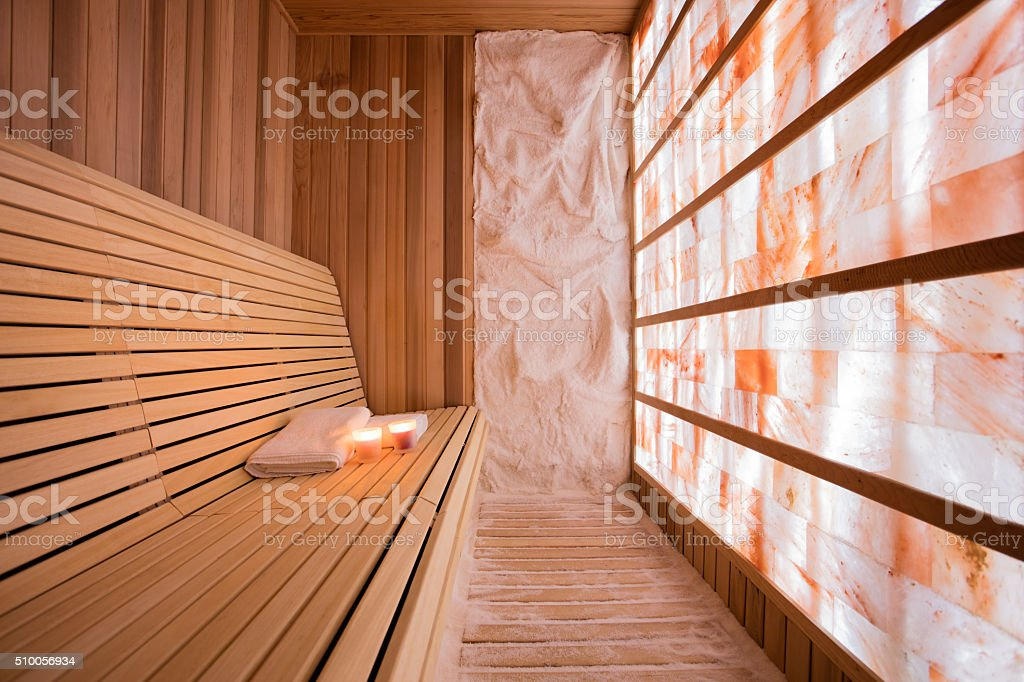 Salt room for halotherapy stock photo