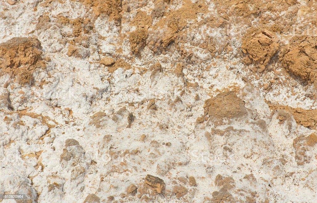 Salt stains on soil surface stock photo