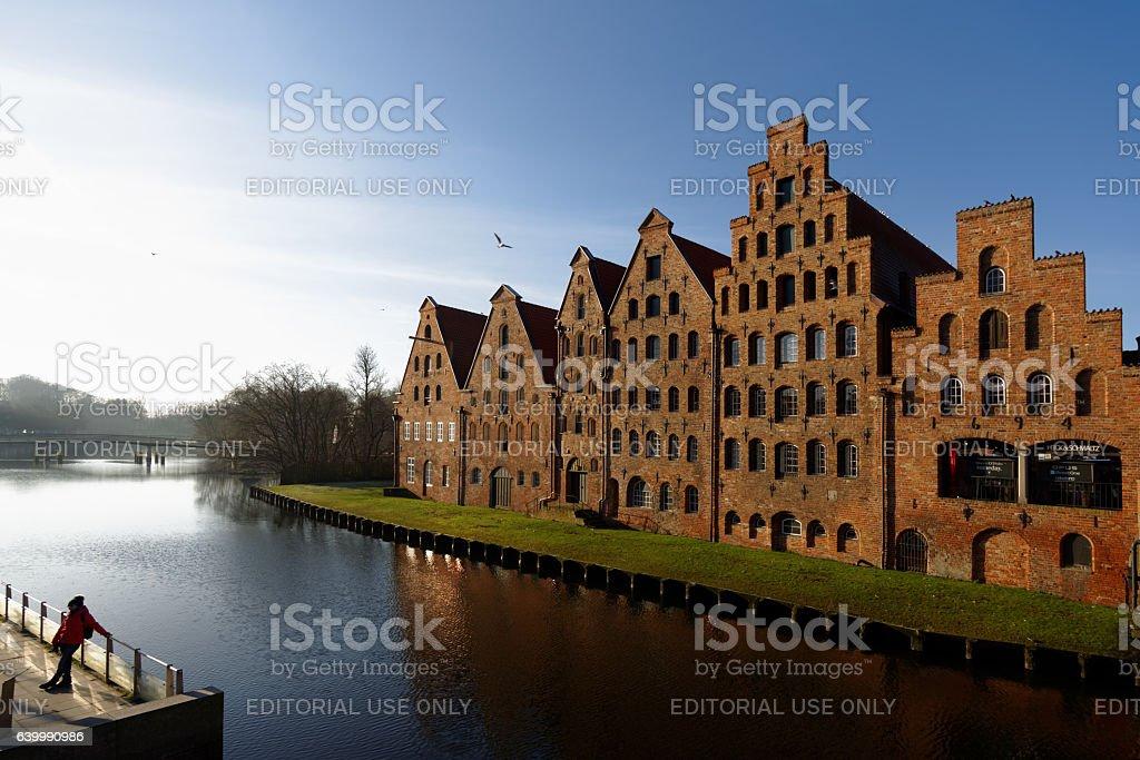 Salt storehouses in Lubeck, Germany stock photo