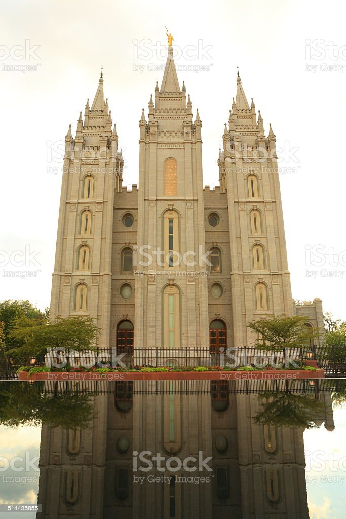 Salt Take Temple from Reflecting Pool stock photo