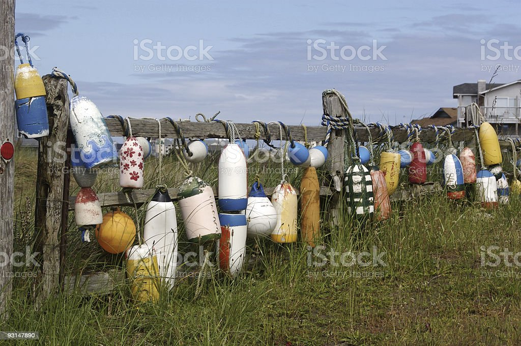 Salt Water Floats on Fence stock photo
