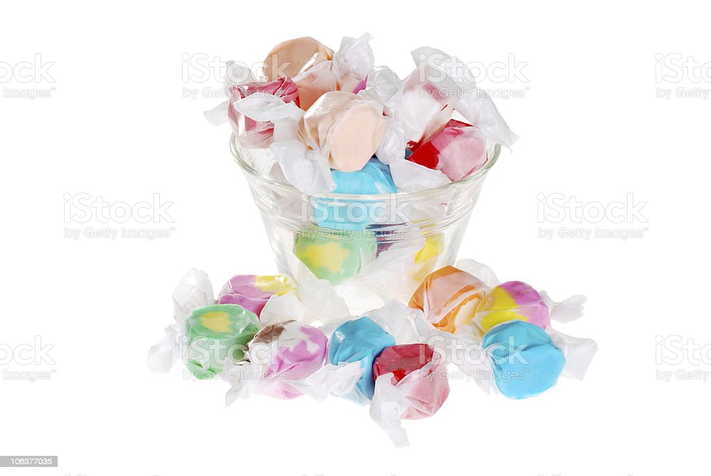 salt water taffy in a bowl stock photo