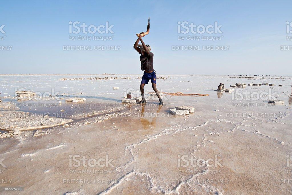Salt worker in the Danakil Desert, Ethiopia stock photo
