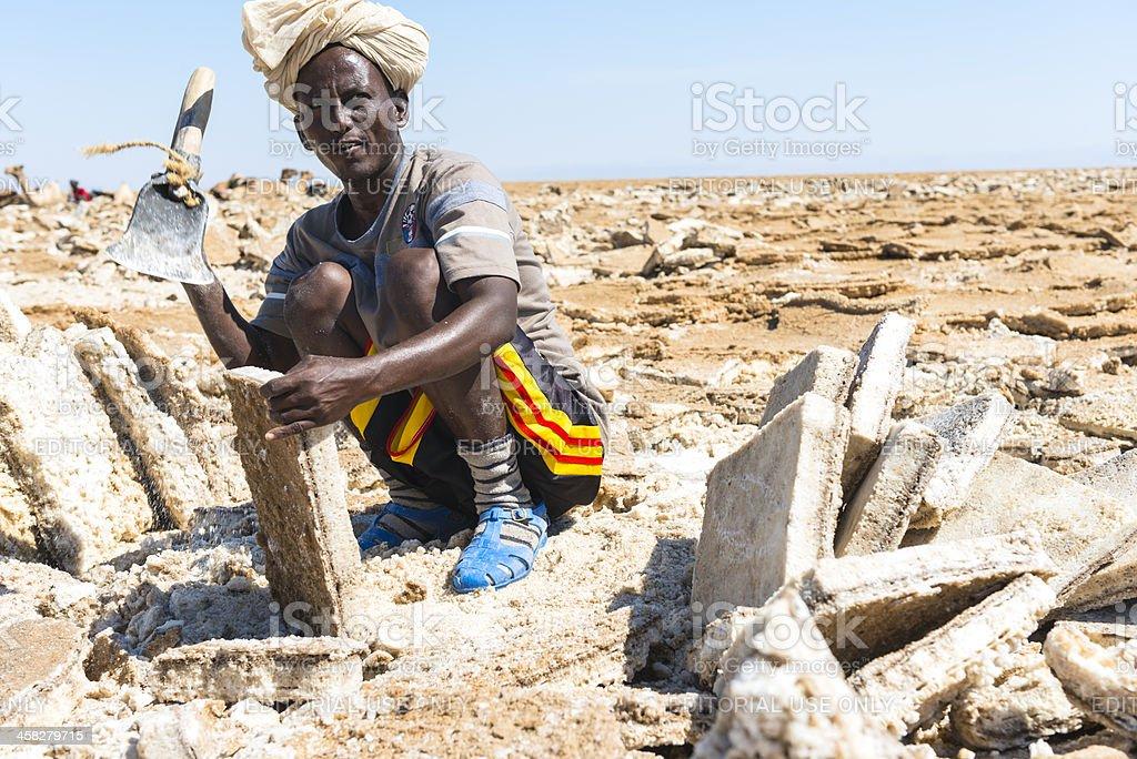 Salt worker in the Danakil Desert stock photo