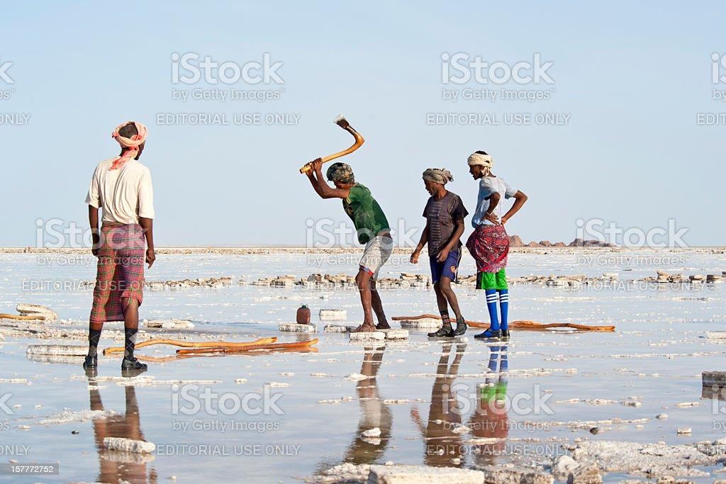 Salt workers in the Danakil Desert, Ethiopia stock photo
