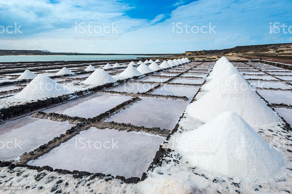 Salt works of Janubio, Lanzarote, Canary Islands (Spain) stock photo