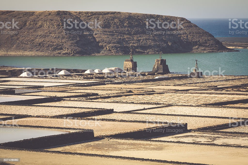 Salt works of Janubio, Lanzarote, Canary Islands stock photo