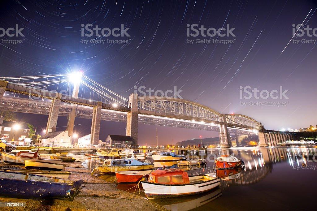 Saltash Waterfront at Night stock photo