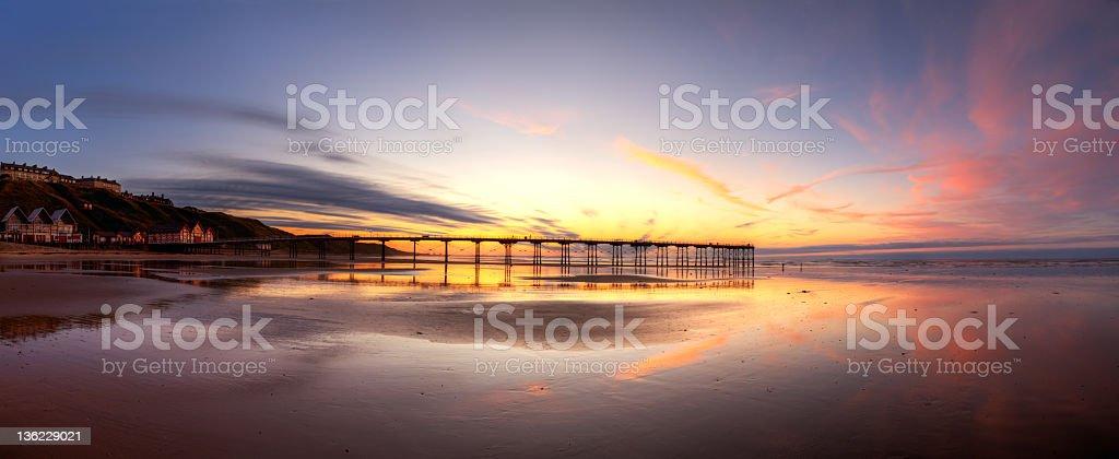 Saltburn Pier at sunset royalty-free stock photo