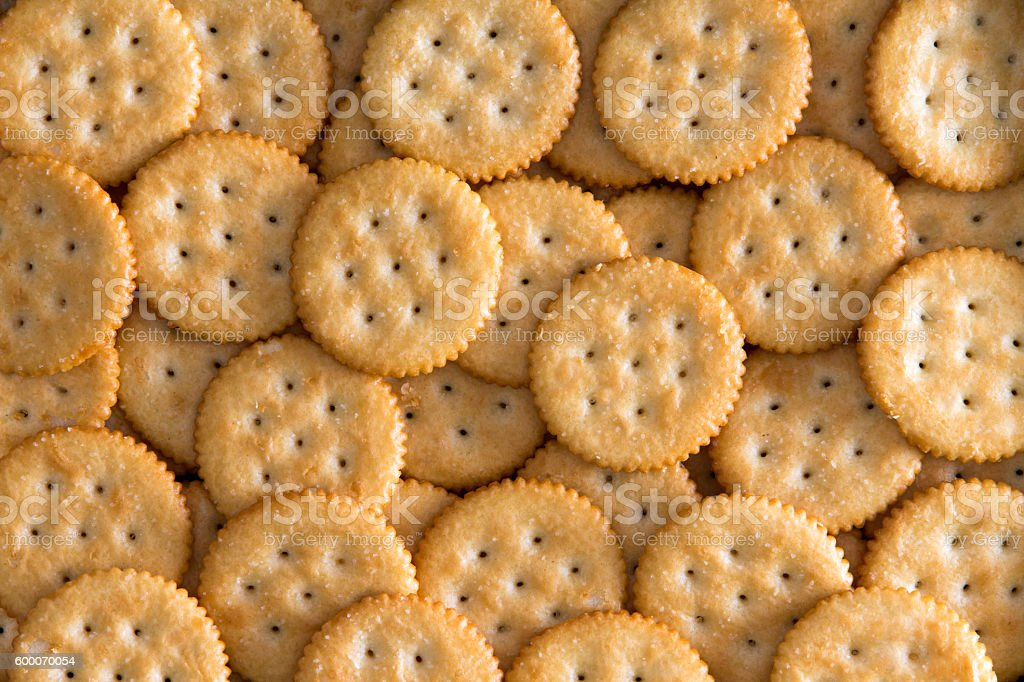 Salted Baked Round Crackers for Backgrounds stock photo