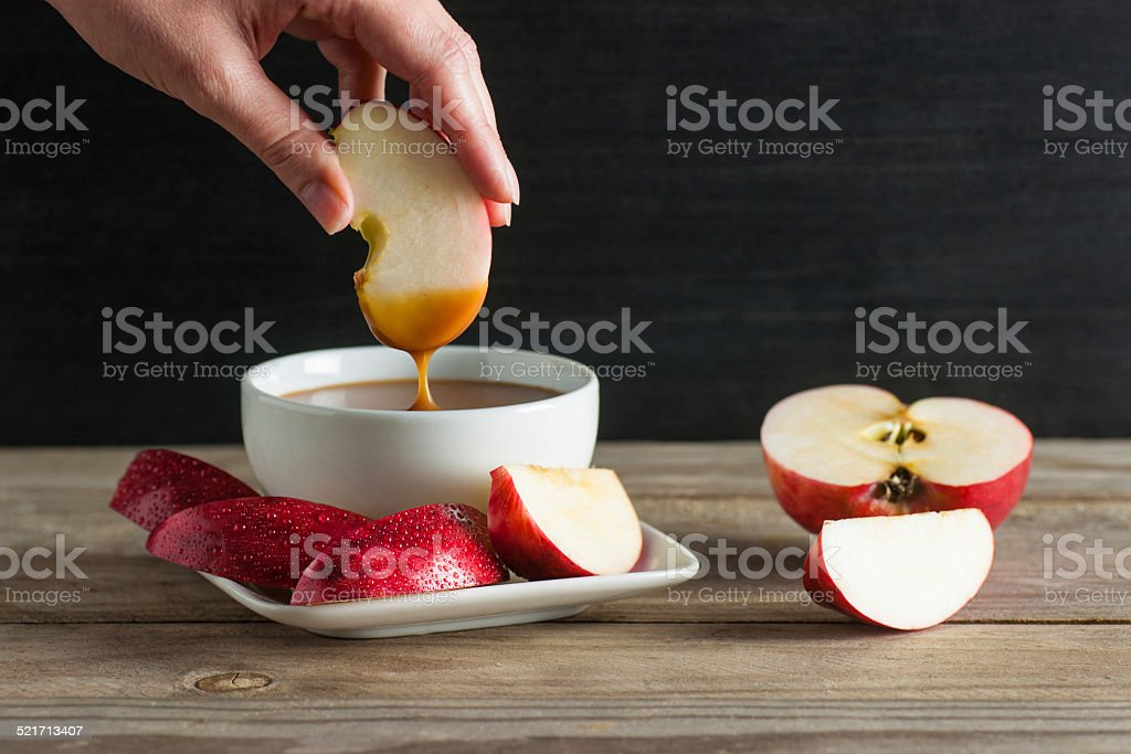 Salted Caramel Apple Dip stock photo