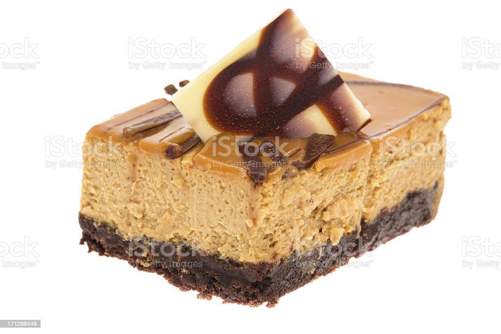 Salted caramel cheesecake stock photo