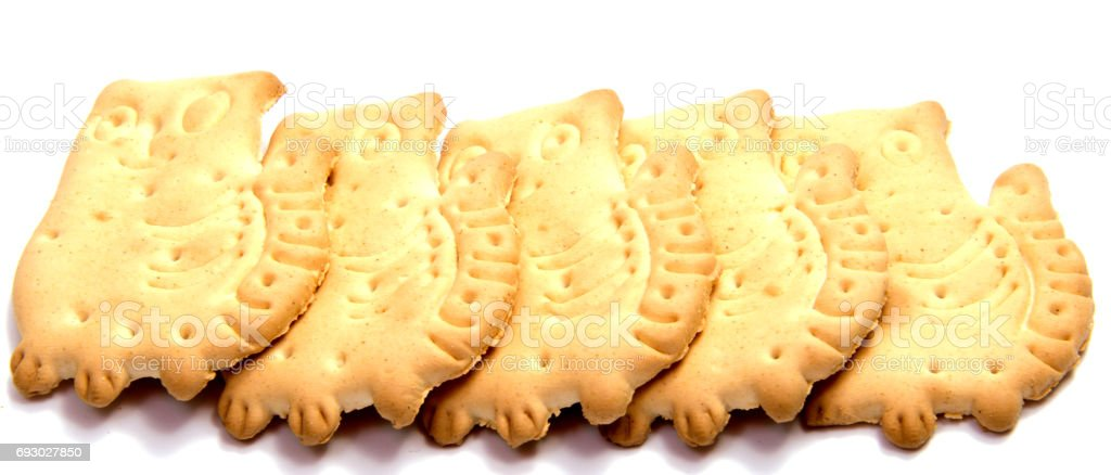 Salted cracker isolated on over white background stock photo