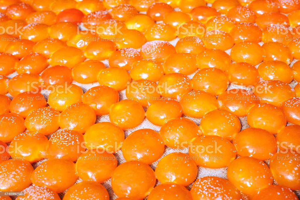 Salted eggs yolk basking in sun stock photo