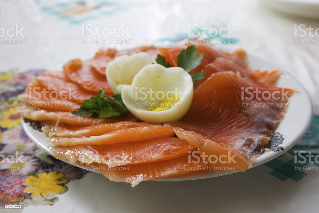 Salted fish on the plate royalty-free stock photo