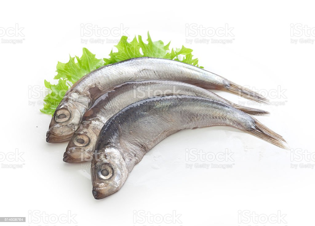 Salted fish with lettuce stock photo