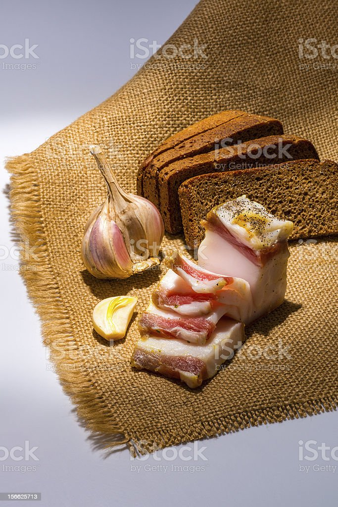 Salted fresh lard and bread royalty-free stock photo