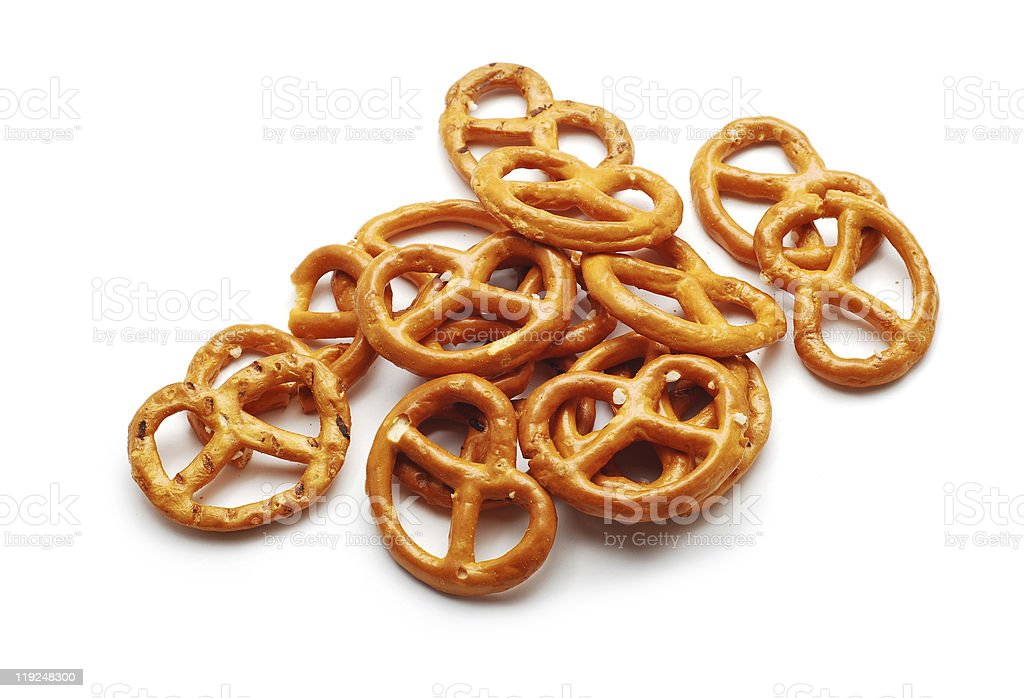 Salted, Mini Pretzels on White stock photo