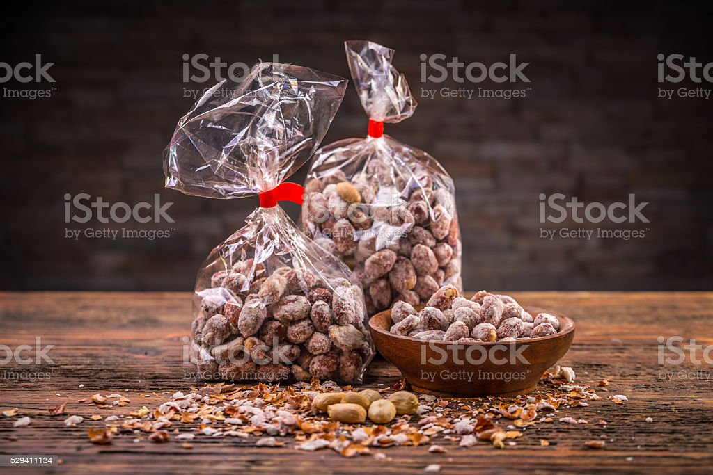 Salted roasted peanuts stock photo