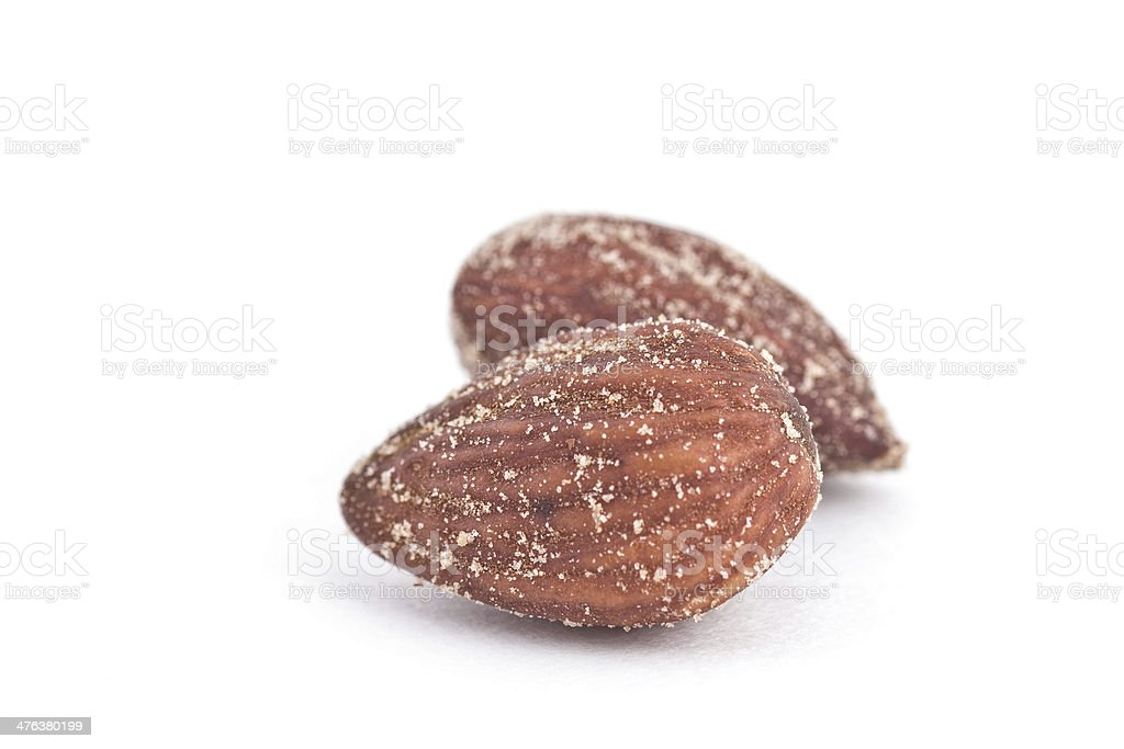 Salted roasted smoked Almonds stock photo