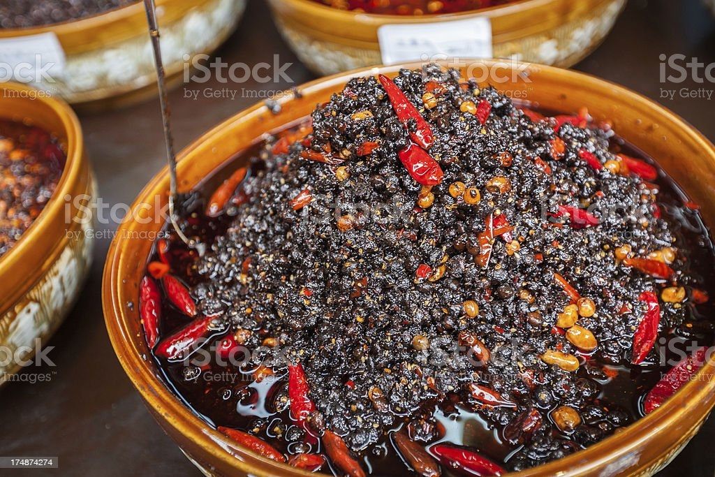 Salted Spicy Black Beans royalty-free stock photo