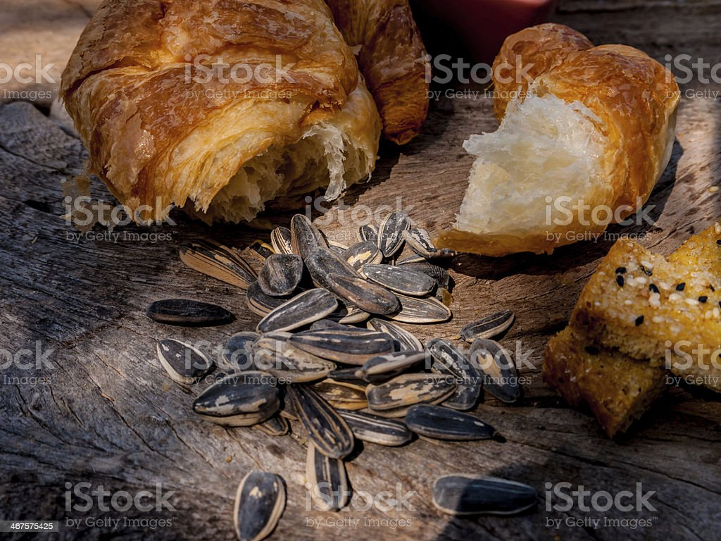 salted sunflowers seeds  and bread royalty-free stock photo