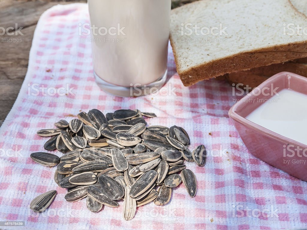 salted sunflowers seeds and cup of milk royalty-free stock photo