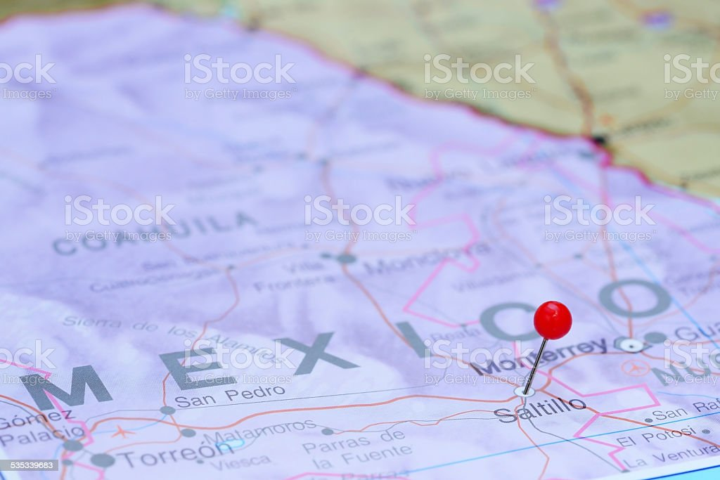 Saltillo pinned on a map of America stock photo