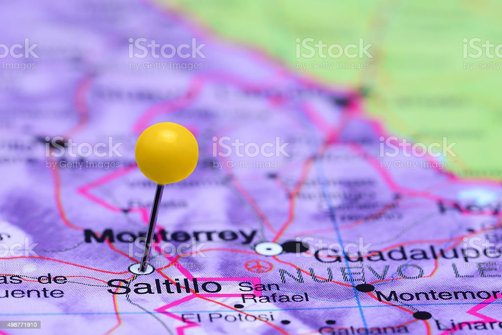 Saltillo pinned on a map of Mexico stock photo