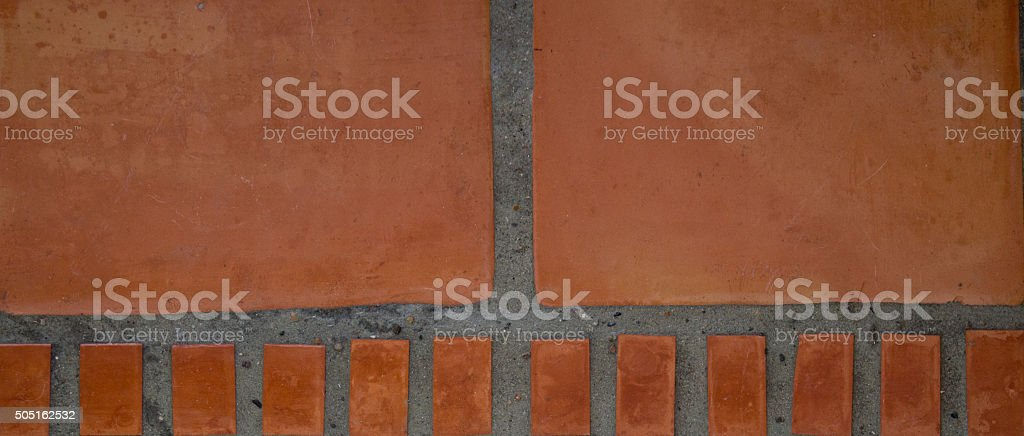 Saltillo Tile Mexican Floor Background, Full Frame. Copy Space stock photo