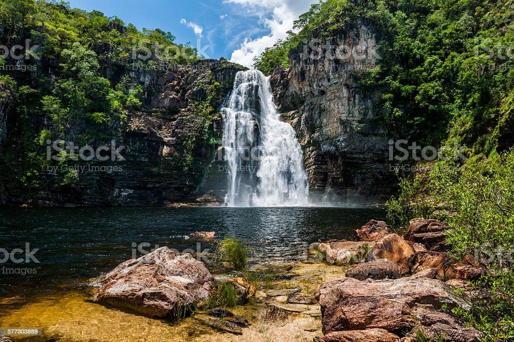 Salto 80m Waterfall in Chapada dos Veadeiros, Goias, Brazil stock photo