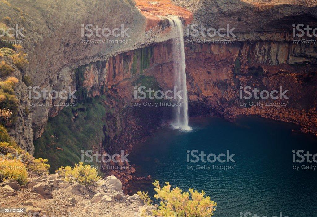 Salto del Agrio waterfall, Patagonia, Argentina stock photo