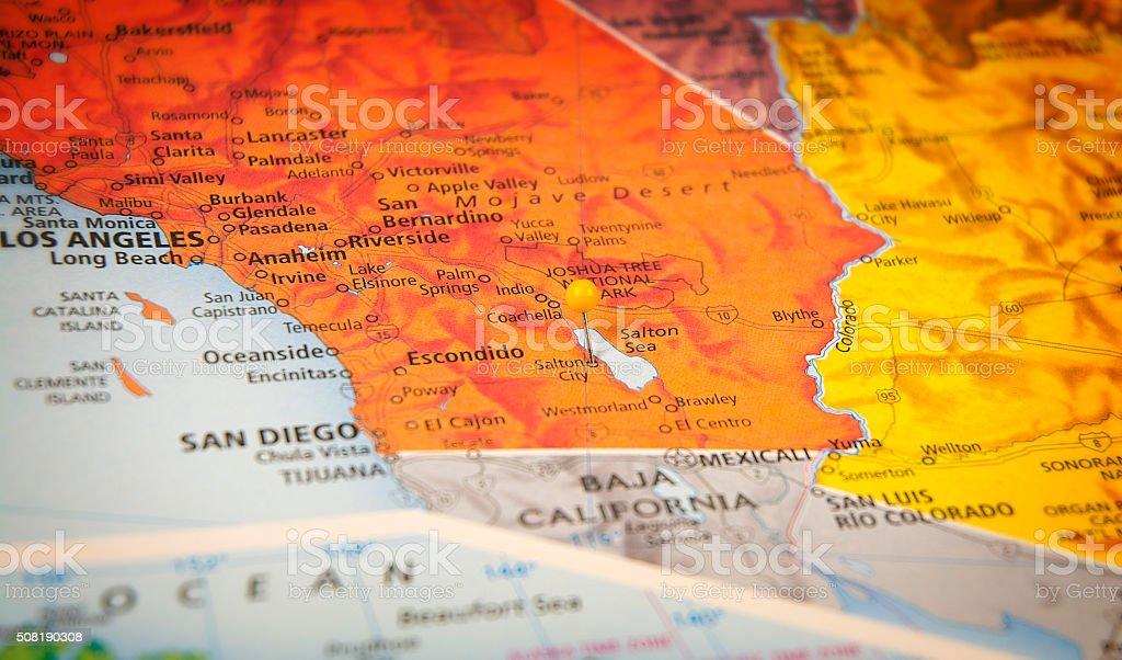 Salton Sea City California Travel Road Map Macro stock photo