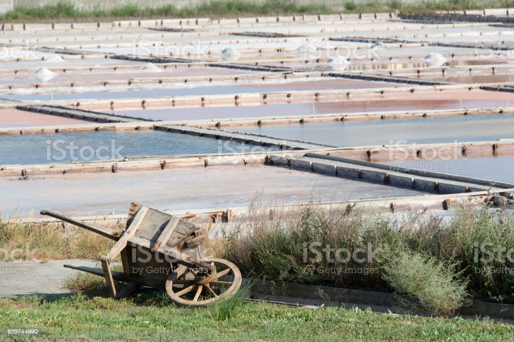 Saltpans. Salt production. By the evaporation method. stock photo