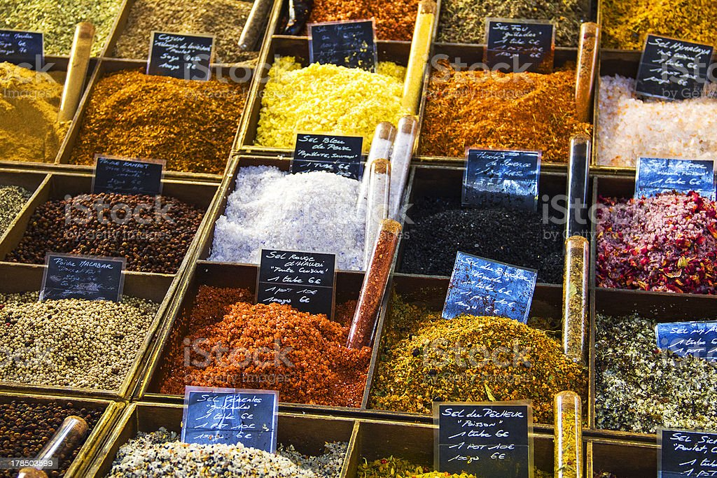 Salts and peppers in a street market stock photo