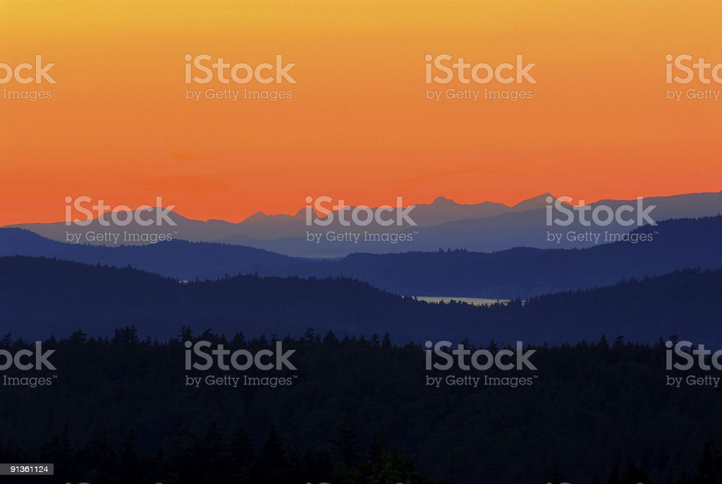 Saltspring Island sunset stock photo