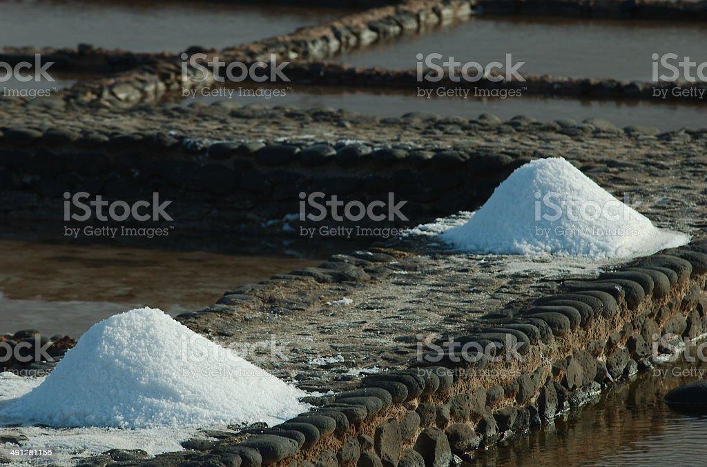 Saltworks in Fuerteventura. Canary Island royalty-free stock photo